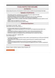 Sample Food Inspector Resume