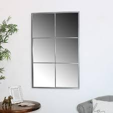 large silver metal window wall mirror