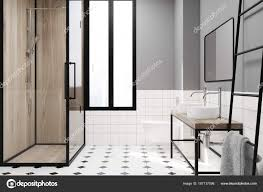 Modernes Grau Badezimmer Deko Idee Dusche Stockfoto