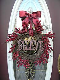 """Christmas Wreath Winter Wreath Holiday Door Wreath Decor..""""Believe"""" Red  Berry Branches Red Ribbon Bow Indoor Outdoor Decoration 