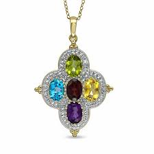 multi semi precious gemstone and diamond accent flower pendant in sterling silver with 14k gold plate