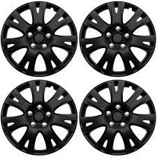 4 pc set of 16 matte black hub caps for oem steel wheel cover center cap covers