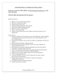 Receptionist Job Description For Resume Medmoryapp Com