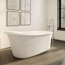 home operetta 63 inch acrylic slipper freestanding bathtub no faucet drillings