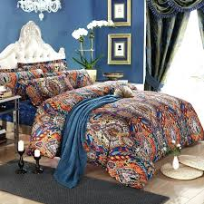 orange and royal blue bohemian tribal style unique pattern design luxury egyptian cotton full queen size
