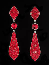 large crystal pageant earrings red