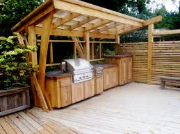 best outdoor kitchen idea with wooden cabinet and storage