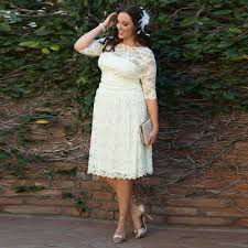 plus size wedding dresses with sleeves tea length hot sale tea length plus size wedding dresses half sleeve o neck