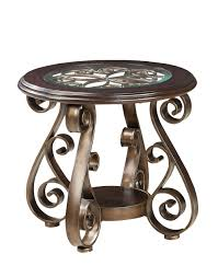 standard furniture bombay round glass top end table in burnished