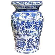 white chinese export patio garden stool