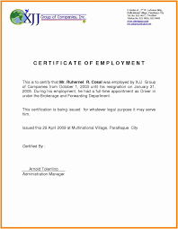 Employee Working Certificate Format Impressive Certificate Of Employment Template Free Download Employee