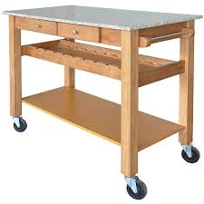 Sonoma Maple Kitchen Island Cart w Pebble Beach Granite Top