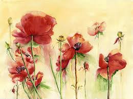 Poppies on Parade Painting by Priscilla Powers