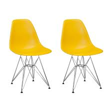 Paris Tower Side Chair Chrome Legs  Set Of 2 Yellow Side Chair70