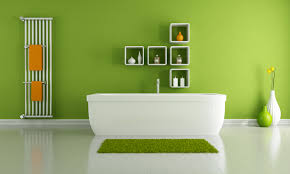 captivating green bathroom. Captivating Green Bathroom Ideas With White Cubicles Wall Shelves And Acrylic Bathtub Plus Small Bath