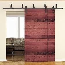 smartstandard 6 6ft byp double door sliding barn door hardware black j shape hangers 2 x 6 6 foot rail