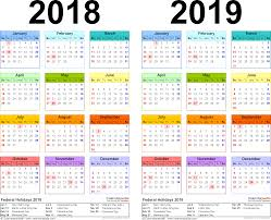 year calender 2018 2019 calendar free printable two year pdf calendars