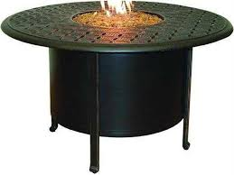 castelle sienna cast aluminum 48 50 round dining table firepit and lid
