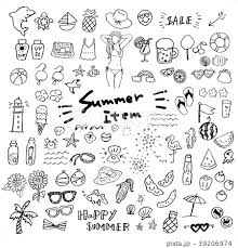 夏のアイコン 手描き セットのイラスト素材 39206974 Pixta