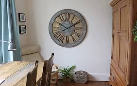 classic rustic grey blue roman numeral wall clock at extra large size of 100 cm