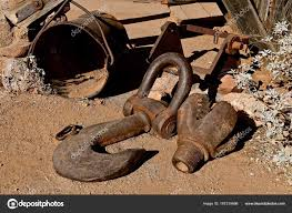 huge eye grab book clevis used pulling old mining c stock photo