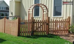 picket fence gate with arbor. Traditional Topped Cedar Picket Fence With Arbor Gate R