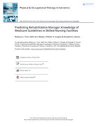 Pdf Predicting Rehabilitation Manager Knowledge Of Medicare