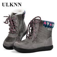 <b>ULKNN Children Snow Boots</b> Kids Genuine Leather Girls Winter ...