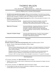 Manufacturing Engineering Sample Resume Junior Mechanical Engineer Sample Resume 24 Manufacturing 17