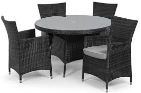 atlanta baby rattan outdoor garden furniture 4 seat grey round dining table set