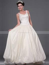 beaded tank bodice taffeta wedding gown with bubble hem