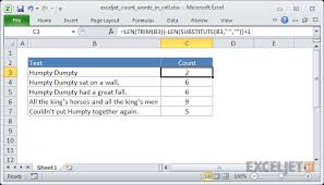 Excel Formula Count Total Words In A Cell Exceljet