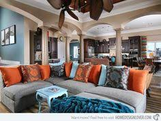 orange wall living room. orange and cobalt blue with turquoise images home decor | wall living room