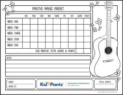 Kids Music Practice Chart Designed For Kid Pointz Kidpointz