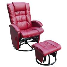 dezmo push back bonded leather recliner glider rocker with swivel and ottoman in red free