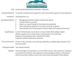 Family Studies Social Work Intern Casa Esperanza