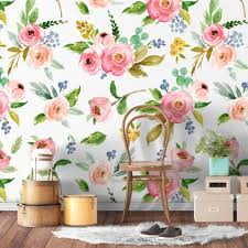 Waterverf Roos Bloemen Herpositioneerbaar Behang Moonwallstickerscom