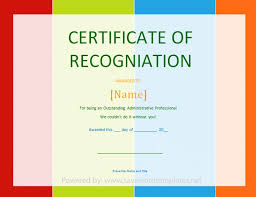Recognition Awards Certificates Template Best S Of Certificate Recognition Template Recognition Award