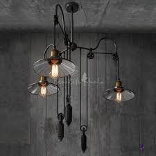 3 light pulley mirrored adjule large led chandelier with saucer shade