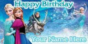 Happy Birthday Banners Personalized Birthday Banner Personalized 4ft X 2 Ft Frozen Disney Anna Elsa