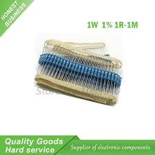 <b>50pcs 1W Metal film</b> resistor 5 color ring 1% 1R 1M 1R 22R 100R ...