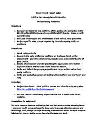Government Comparison Chart Political Party Assignment Government