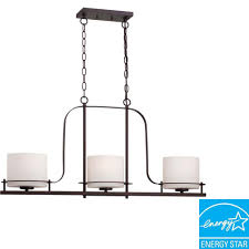 3 light venetian bronze island pendant with oval frosted glass shade