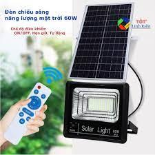 Bộ đèn LED chiếu sáng Pin năng lượng mặt trời 60W - chống nước IP67, điều  khiển, hẹn giờ