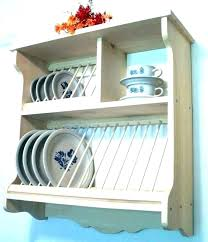 wooden wall plate rack hanging wood mounted dish drying display racks for walls decorative dis