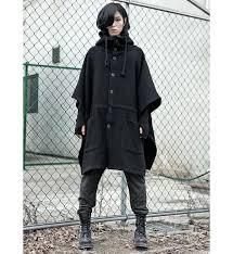 fashion harajuku gothic clothing black mens jacket trench coat wool men fashion brand peacoat hooded cloak long big size