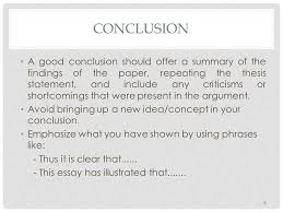 writing a well structured essay essay structure and outlining ppt  6 conclusion