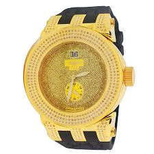yellow gold techno grill ag stardust dial quartz 1 30ct real diamond watch with black leather