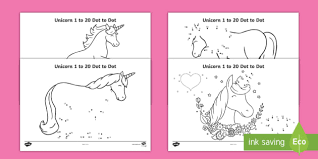 New Unicorn Themed 1 To 20 Dot To Dot Worksheets
