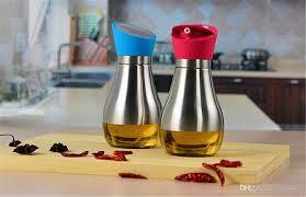 2018 400ml portable stainless steel glass oil bottle soy sauce vinegar olive oil dispenser leak proof rotating lip design high class from zfrankly
